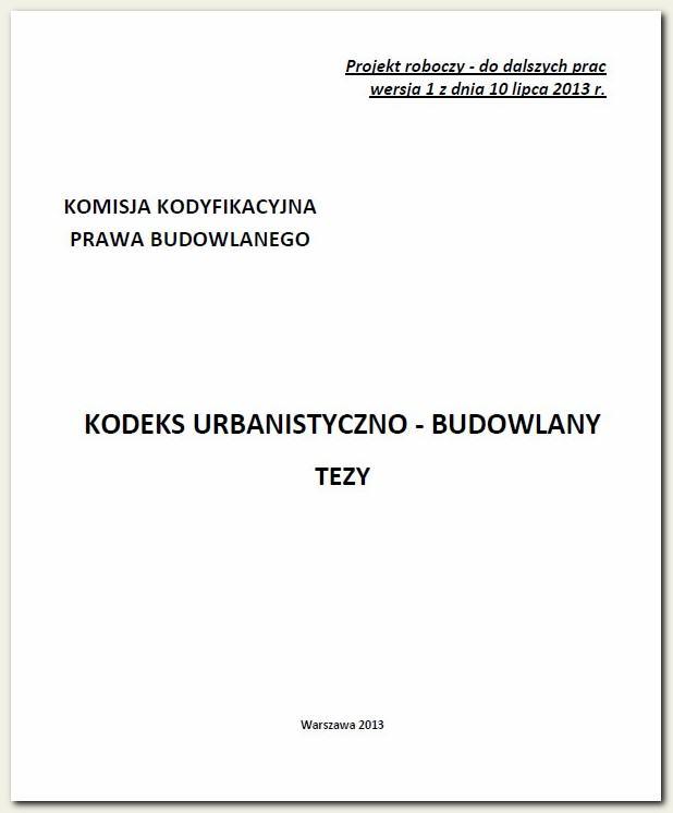 Tezy Kodeksu urbanistyczno – budowlanego