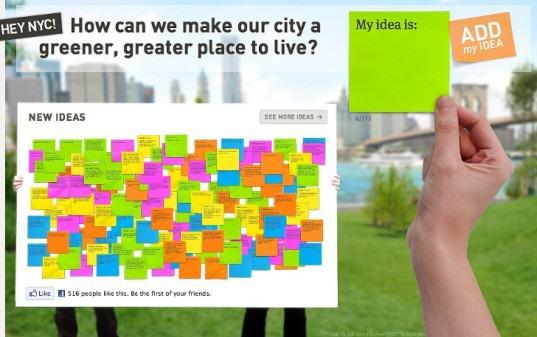 """Tablica do """"przyklejania"""" swoich pomysłow/źródło: Change by Us NYC"""