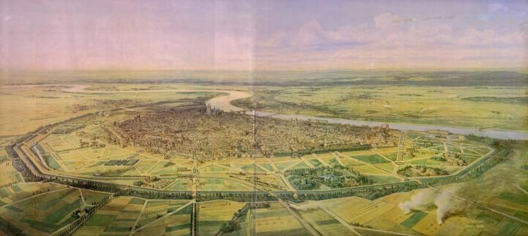 Kolonia – tereny przeznaczone pod nową zabudowę (1881), źródło: http://upload.wikimedia.org/wikipedia/commons/a/a6/Jakob_Scheiner_Koeln_Vogelschauplan.jpg