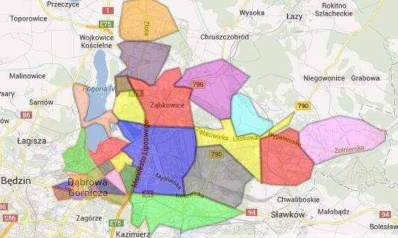 Podział Dąbrowy Górniczej na 27 dzielnic, dla których rozdysponowano środki z BP, źródło: http://twojadabrowa.pl/