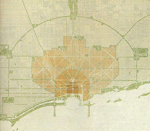 Plan Chicago 1909, źródło: http://upload.wikimedia.org/wikipedia/commons/4/41/Burnham_1909_chicago_plan.jpg