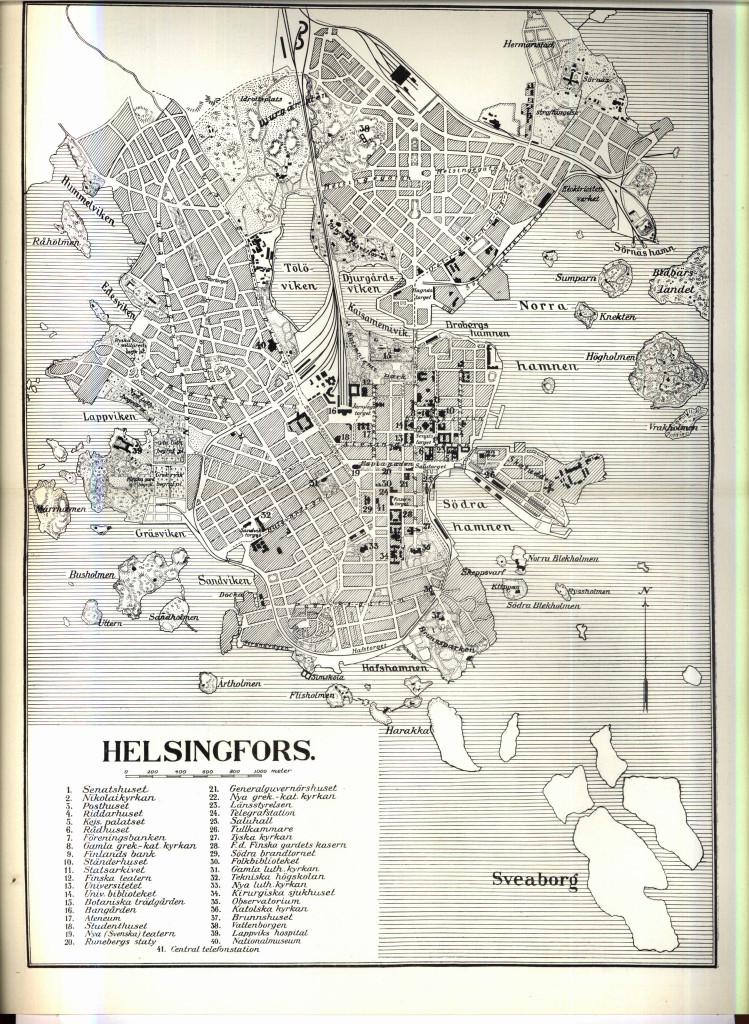 Mapa Helsinek sprzed około 100 lat. Widać na niej linię kolejową Helsingin satamarata otaczającą miasto. Źródło: wikimedia.org