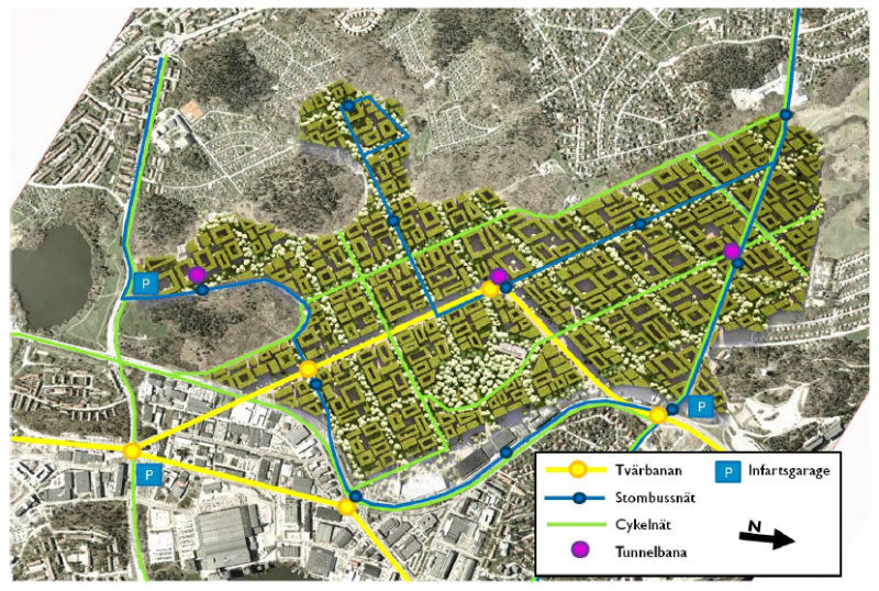 Projekt osiedla Bromma parkstadt z komunikacją publiczną. Materiały Miljöpartiet de gröna.