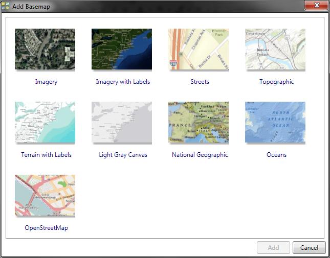 Rys. 7. Podkłady dostępne w programie ArcGIS.
