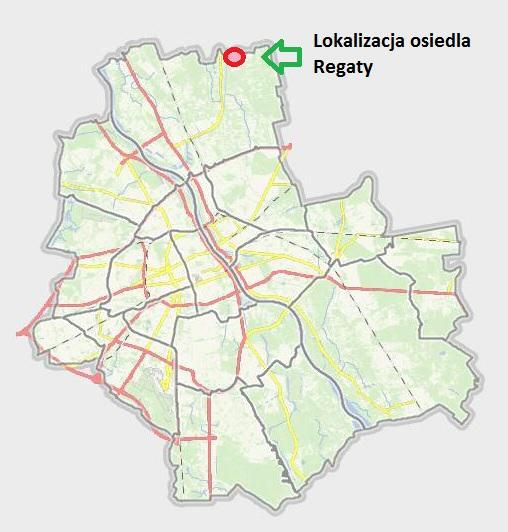 Lokalizacja osiedla Regaty/źródło: mapa.um.warszawa.pl