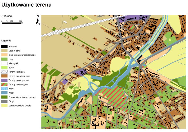 Rys. 9. Przykładowa kompozycja mapowa stworzona w programie ArcGIS.