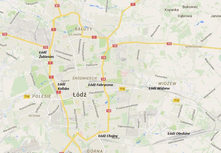 Najważniejsze dworce kolejowe w Łodzi / Źródło: opracowanie własne na podstawie www.maps.google.pl