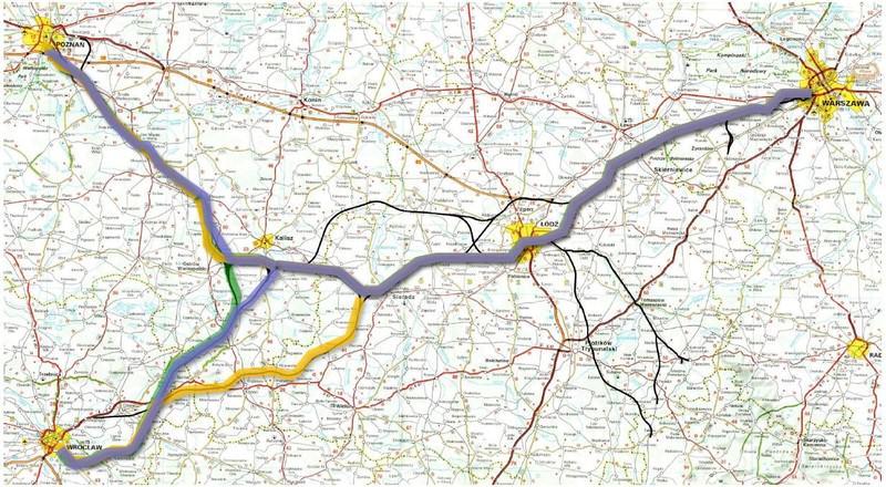 Planowany przebieg Kolei Dużych Prędkości / Źródło: www.kurierkolejowy.eu