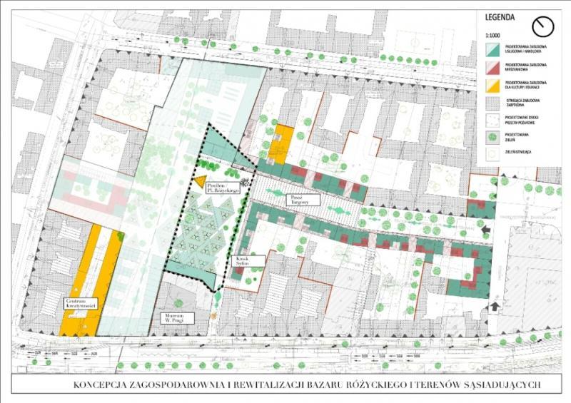 Koncepcja zagospodarowania miejskiej części bazaru; autor: Aleksandra Wasilkowska; źródło: UM Warszawa