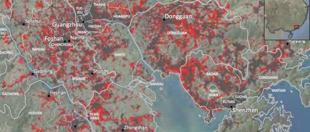 Proces urbanizacji miast położonych w delcie rzeki Perłowej. Legenda: brązowy kolor - tereny miejskie w 2000 roku, czerwony - nowe tereny miejskie w 2010 roku. Źródło: University of Wisconsin-Madison/World Bank