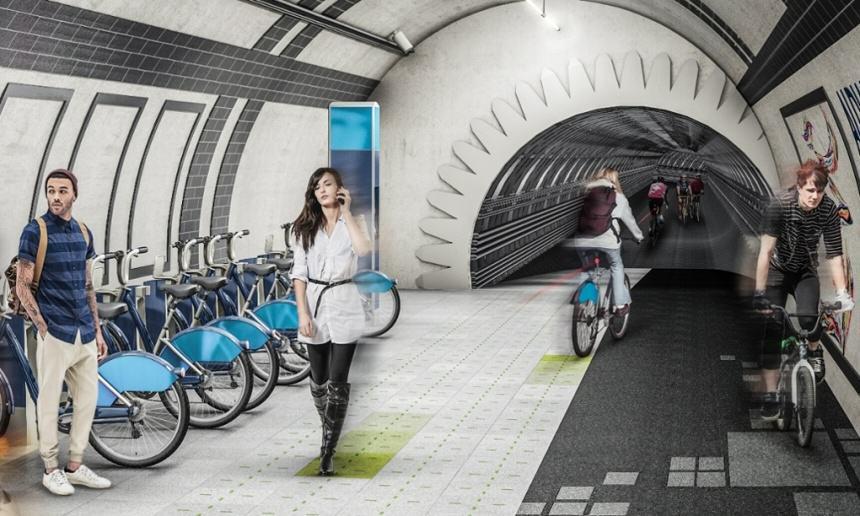 Ścieżki rowerowe w podziemnych tunelach w Londynie
