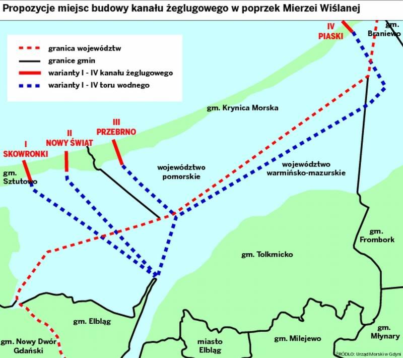 Proponowane miejsca budowy drogi wodnej łączącej Zatokę Gdańską z Zalewem Wiślanym, źródło: Urząd Morski w Gdyni