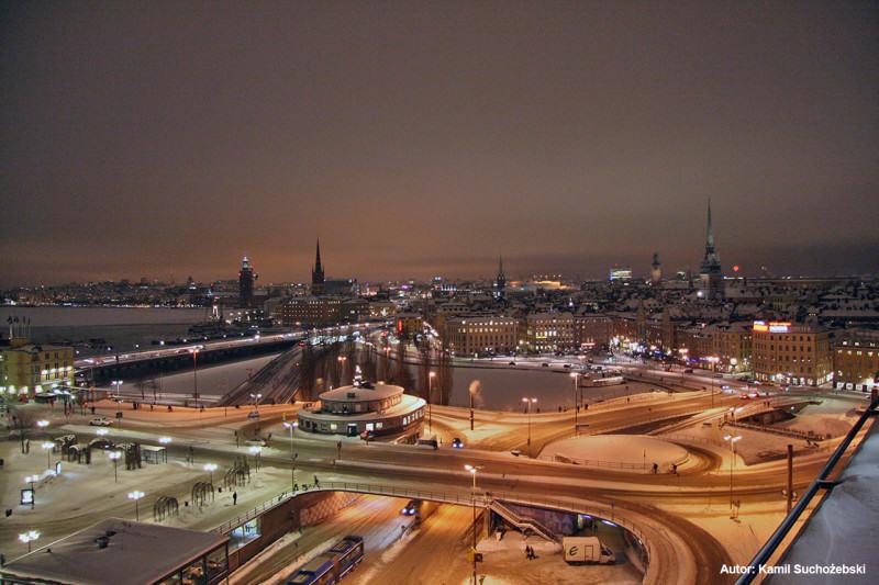Obecny wygląd Slussen z panoramą Sztokholmu, autor: Kamil Suchożebski