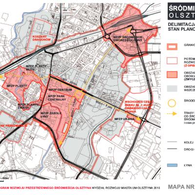 Zintegrowany Program Rozwoju Przestrzennego Srodmiescia Olsztyna mapa