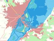 Mapa zagrożenia powodziowego dla Szczecina; za: mapy.isok.gov.pl/imap