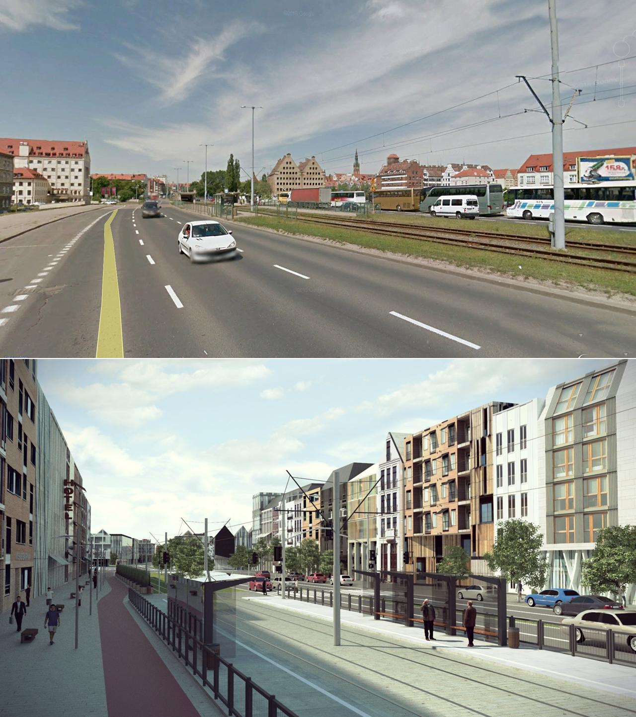 Proponowane zmiany na Podwalu Przedmiejskim w Gdańsku (źródło: Stowarzyszenie FRAG)