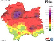 Prognozowane stężenia zanieczyszczeń powietrza pyłem PM 10 w woj. małopolskim / IMGW