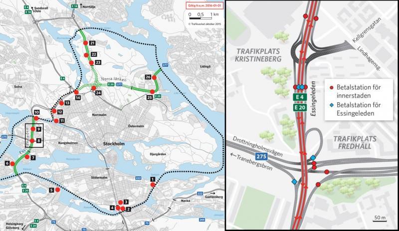 Strefa płatnego wjazdu do centrum Sztokholmu | źródło: Transportstyrelsen