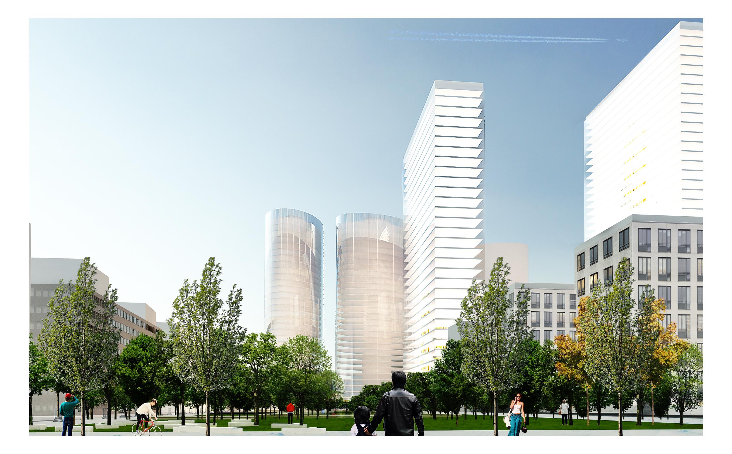 +48 architektura – Widok parku w strone towarowej