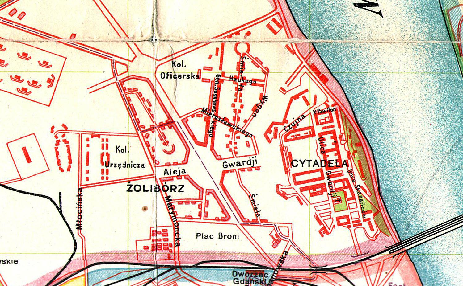 Wycinek z planu Warszawy z roku 1924 autorstwa WIG, fot. mapywig.org
