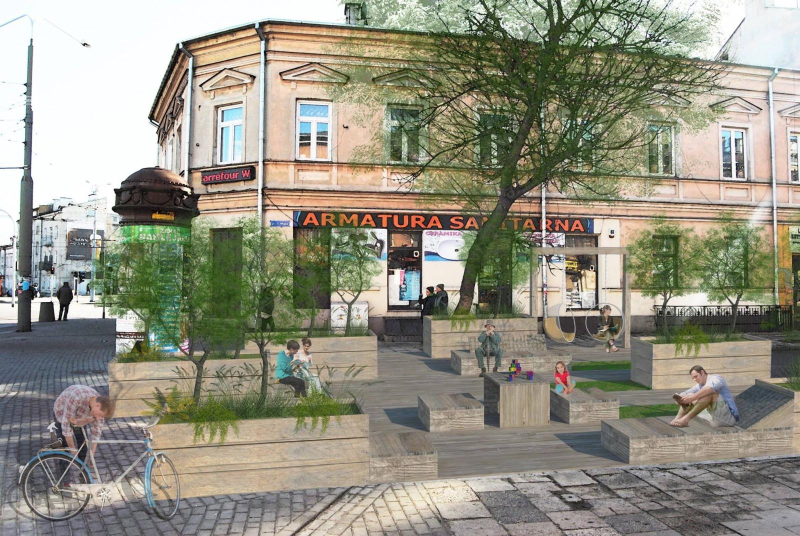 Wizualizacja woonerfu na ulicy 1 maja w Lublinie przedstawiona do konsultacji, autorzy: Emilia Chęć i Katarzyna Szczypior