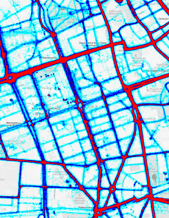 Mapa ciepła dla centrum Warszawy z widocznymi barierami oraz drogami alternatywnymi wybieranymi przez rowerzystów