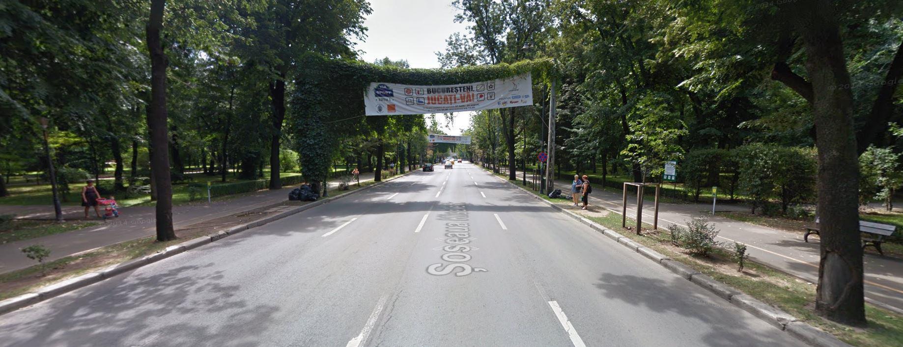 Ulica Kiseleff w Bukareszcie (2014) z widocznymi reklamami wydarzenia VIa Sport; fot. Google Street View