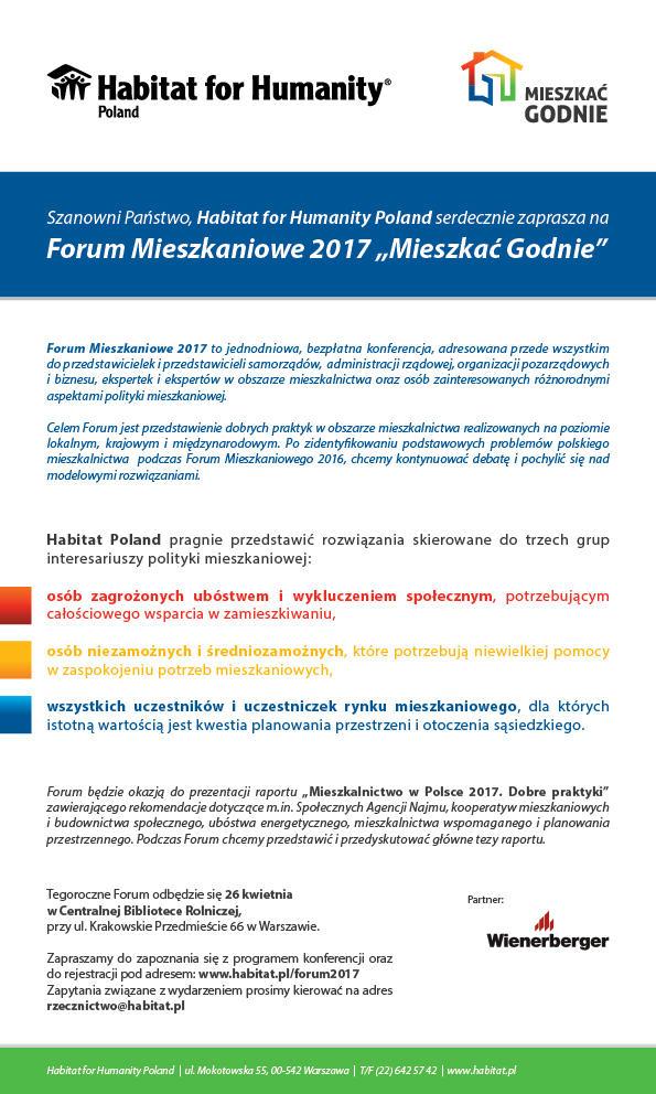 Zaproszenie – Forum Mieszkaniowe 2017