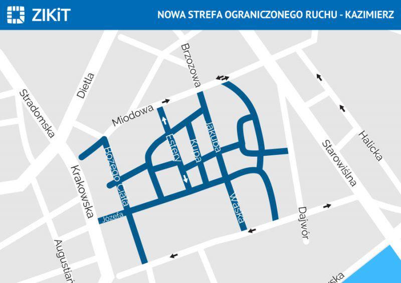 Kraków - ograniczenia ruchu na Kazimierzu