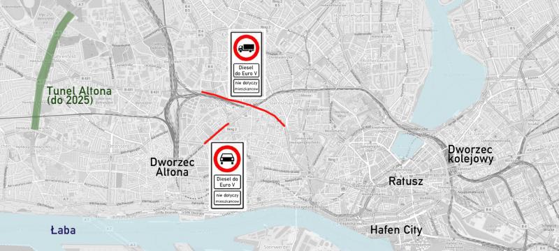 Hamburg zakazuje diesla mapa