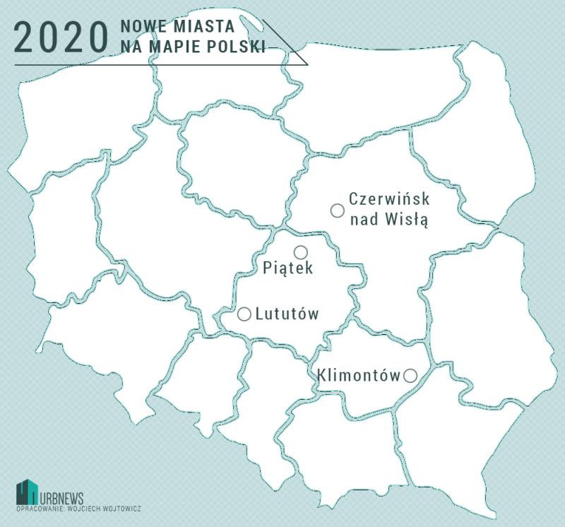 Nowe miastaw w Polsce w 2020 roku