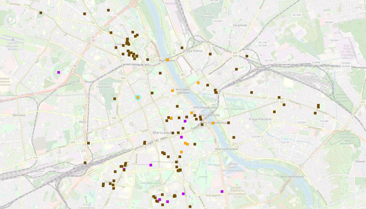 Warszawa mapa śladów wojny