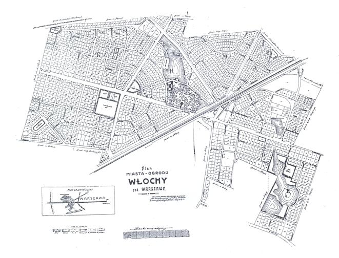 Mapa parcelacyjna miasta-ogród Włochy