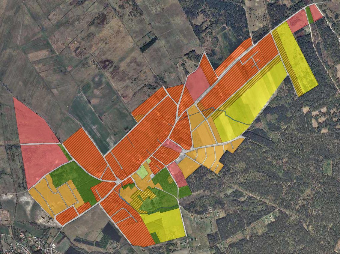 Wycinek miejscowego planu zagospodarowania przestrzennego miejscowości Szczenurze w Geoportalu