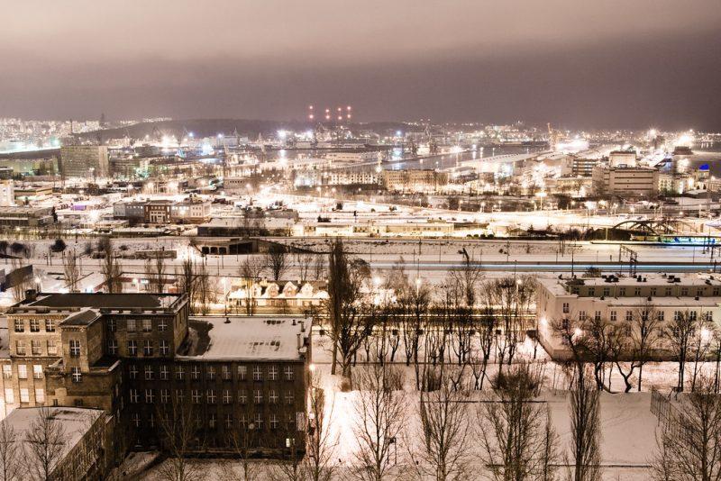 Zdjęcie panoramy Gdyni nocą