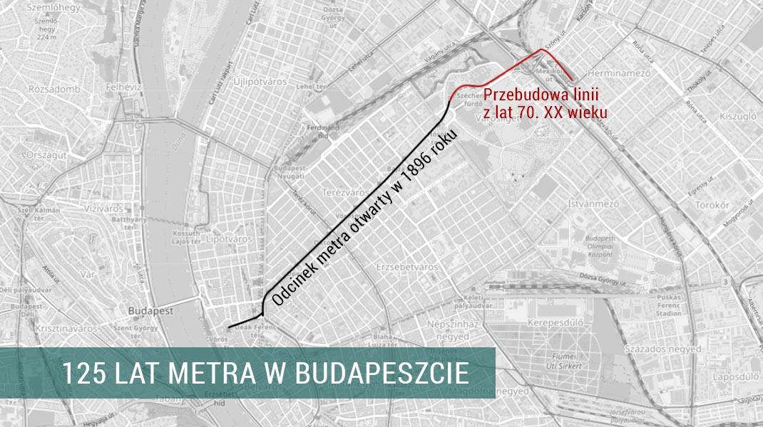 Mapa I linii metra w Budapeszcie