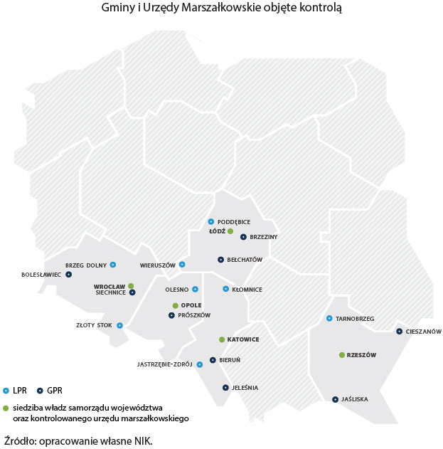 Mapa jednostek objętych kontrolą NIK