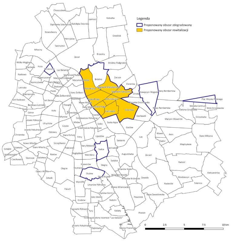 Obszary zdegradowane i obszar rewitalizacji, wyznaczone na terenie Warszawy