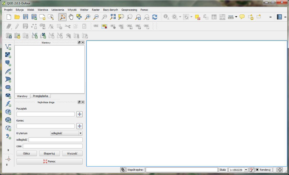 QGIS 2.0 – Widok okna programu