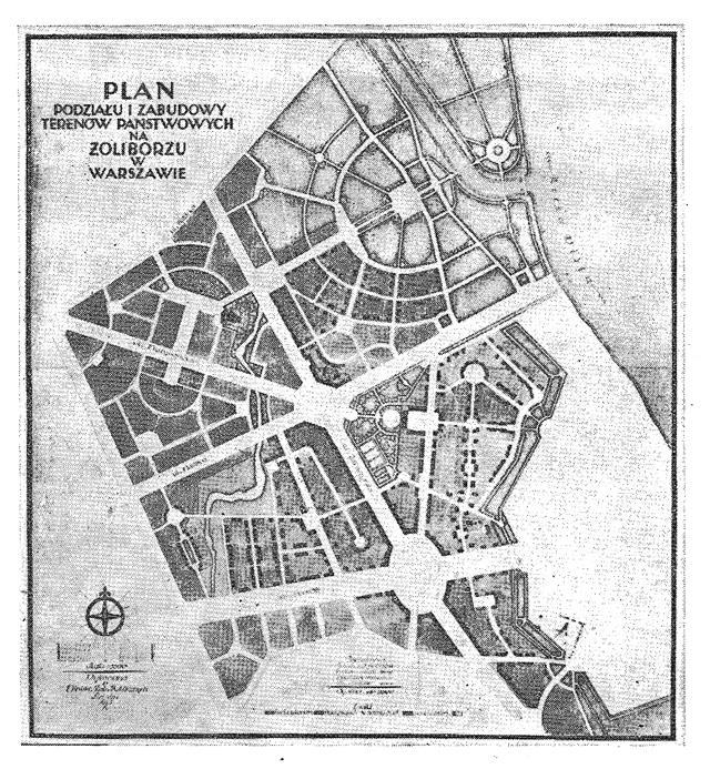 Przedwojenny plan zabudowy Żoliborza, źródło: http://www.zalesie-gorne.eu/print.php?type=N&item_id=428