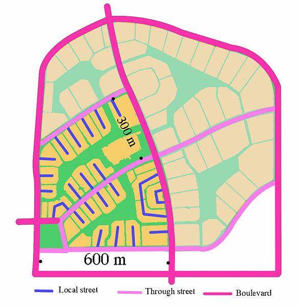 Radburn, źródło: http://en.wikipedia.org/wiki/File:Radburn_Cellular_Street_Pattern.jpg