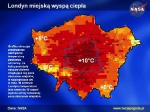 Miejska wyspa ciepła w Londynie/ źródło: twojapogoda.pl