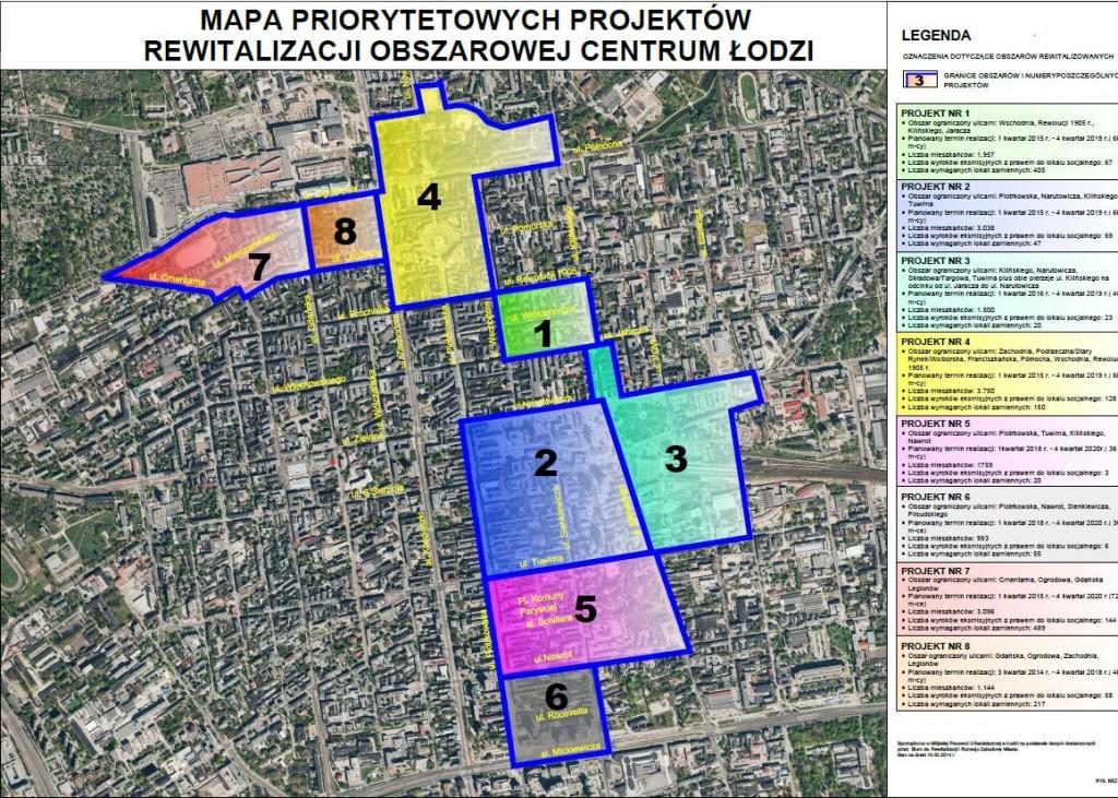 Mapa obszarów priorytetowych centrum Łodzi, źródło: http://www.uml.lodz.pl/