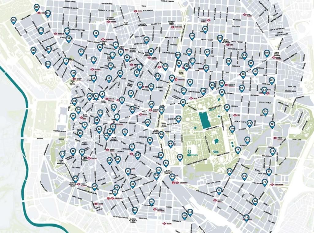 Stacje BiciMAD, źródło: http://www.bicimad.com/mapa.html