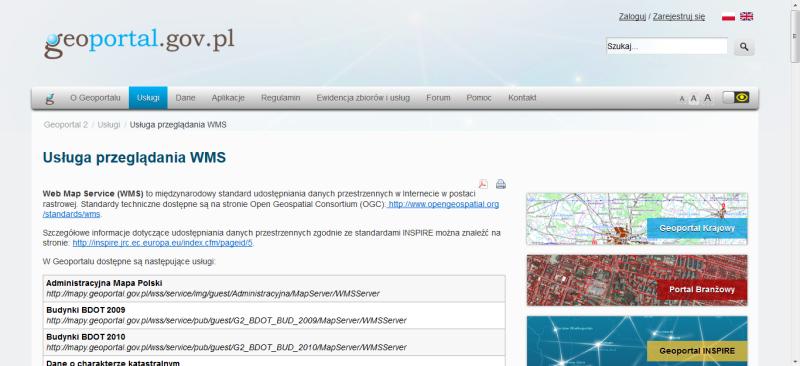 Rys. 1. Usługi WMS dostępne za pośrednictwem Geoportalu.