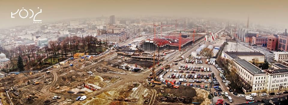 Widok na budowę dworca Łódź Fabryczna, listopad 2014 Źródło: https://www.facebook.com/lodzpl