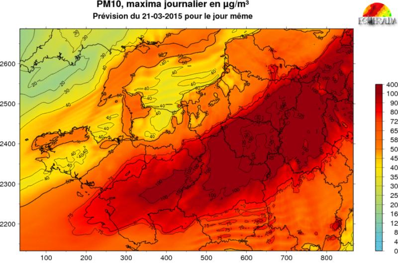 Maksymalne stężenie PM10 w północnej Francji; 21 marca 2015; źródło: Airparif