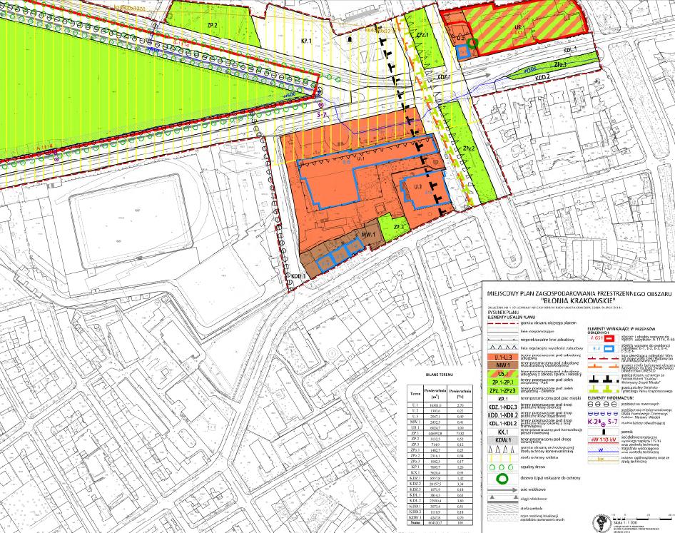 Wycinek obowiązującego miejscowego planu zagospodarowania przestrzennego obszaru BŁONIA KRAKOWSKIE
