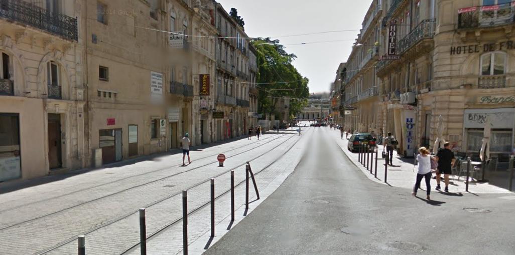 Torowisko tramwajowe w Montpellier; zdj. Google Street View