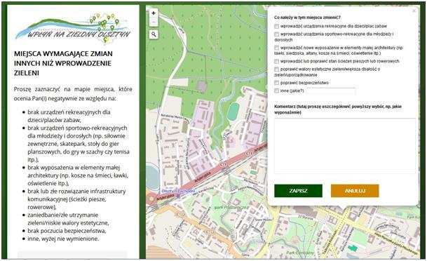 Przykładowy kwestionariusz geoankiety – karta 4 (zrzut ekranu: www.geoankietaolsztyn.pl)